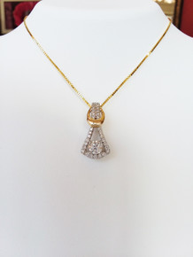 14K Yellow & White Gold Diamond Pendant Lab Grown 0.50 Carat Center 0.40 DTW (chain not included)