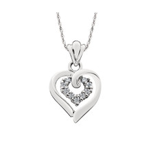 "10K White Gold Double Heart Diamond Pendant 18"" Chain 0.09 DTW"