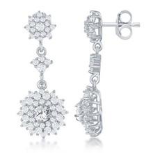 Sterling Silver CZ Flower Shape Dangle Earrings