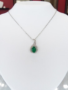 "10K White Gold Oval Emerald & Diamond Pendant 0.09 DTW 18"" Chain"