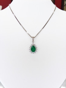 14K White Gold Pear Emerald & Diamond Halo Pendant 0.14 DTW (chain not included)