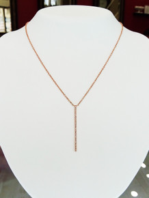 "14K Rose Gold Vertical Diamond Bar Necklace 0.08 DTW 18"" Chain"