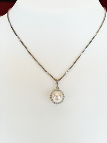 14K White Gold Pearl & Diamond Halo Pendant 0.15 DTW (chain not included)