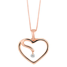 "14K Rose Gold Floating Diamond Heart Pendant 0.05 DTW 18"" Chain"