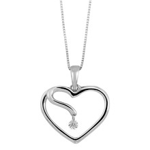 "14K White Gold Floating Diamond Heart Pendant 0.05 DTW 18"" Chain"