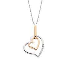 "10K White & Rose Gold Double Heart Diamond Pendant 0.04 DTW 18"" Chain"