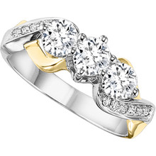 14K Two Tone 3 Stone Criss Cross Diamond Ring 0.50 DTW