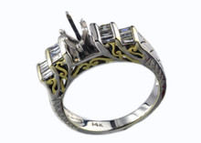 14 Karat Two Tone White and Yellow Gold .50 dtw 12 baguette diamonds, semi-mount