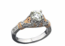 14 Karat  White and Rose Gold 1.26 dtw Diamond Ring