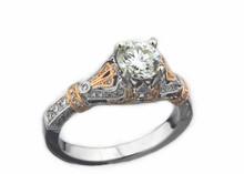 14 Karat  White and Rose Gold 1.26 dtw Diamond Ring