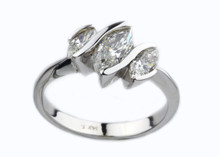 14 Karat  White Gold 1.13 dtw Three Stone Marquise Diamond Ring