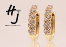 14 Karat Yellow  Gold  .33CTW Diamond Hoops With Milgrain
