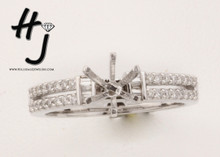 18 K White Gold .21 dtw Baguette and 2 Row Round Diamond Semi-Mount