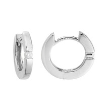 14 Karat White Gold .07 DTW Hinged Hoop Earrings