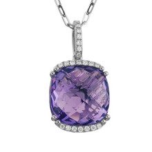 14 Karat White Gold .10 DTW, 6 Carat Amethyst Pendant with 18 inch Chain