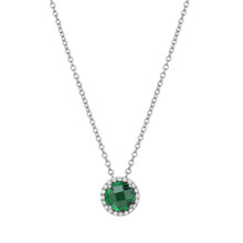 "Sterling Silver Created Emerald with Simulated Diamond Pendant with 18"" Chain"