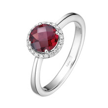 Sterling Silver Garnet with Simulated Diamond Ring