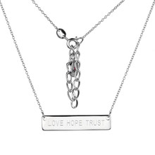Elle Sterling Silver Love Hope Trust Bar Pendant