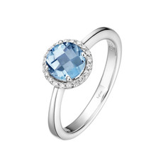 Sterling Silver Simulated Aqua with Simulated Diamond Ring