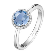 Sterling Silver Simulated Blue Topaz with Simulated Diamond Ring