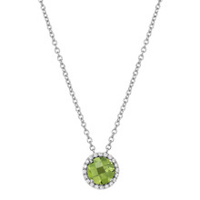 """Sterling Silver Peridot with Simulated Diamond Pendant with 18"""" Chain"""