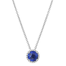 "Sterling Silver Lab Sapphire with Simulated Diamond Pendant with 18"" Chain"