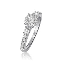 14 Karat White Gold .68 DTW with Baguettes & Round Diamond Ring