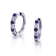 14 Karat White Gold Diamond & Sapphire .35 DTW Hoop Earrings