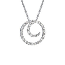 14 Karat White Gold Diamond Coil Necklace