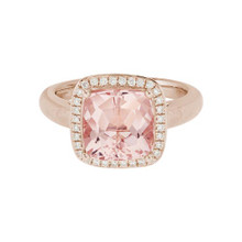 14 Karat Rose Gold Morganite & Diamond Halo Ring