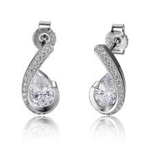 Elle Sterling Silver Pear Shaped CZ Post Earrings
