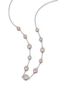 "Elle Sterling Silver Rose Plated CZ 36"" Necklace"