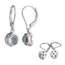 Elle Sterling Silver Synthetic Spinel Bezel Leverback Earrings