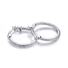 Elle Sterling Silver CZ Inside Out Small Hoop Earrings