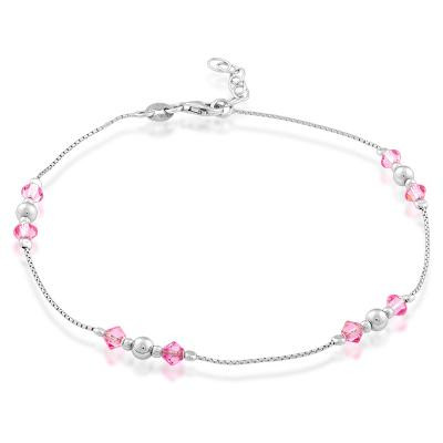 Sterling Silver Anklet with Pink Crystals 9