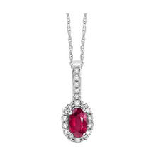 "14k White Gold Oval Ruby & Diamond Halo Necklace 18"" Chain"