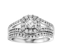 14K White Gold Wedding Set Round Center in a Halo with a Split Shank 0.50 DTW