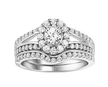 14K White Gold Wedding Set with Oval Center in a Halo & Split Shank 0.50 DTW