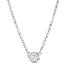 Sterling Silver with Diamond in Diamond Cut Bezel Necklace 0.02 DTW