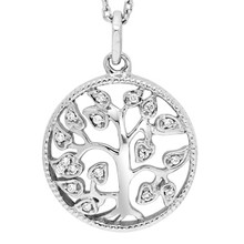"Sterling Silver Tree of Life Necklace 0.06 DTW 18"" Chain"