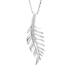 "Sterling Silver & Diamond Feather Necklace 18"" Chain 0.06 DTW"