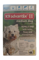 Bayer K9 Advantix II 6-Month Dogs 11-20 Lbs (Teal)