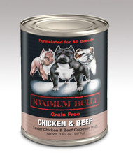 MAXIMUM BULLY CHICKEN & BEEF CUBE IN BROTH 13.2 OZ 12/CS