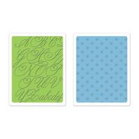 Sizzix Textured Impressions Embossing Folders - Elegant Script & Petite Floral Set 659627