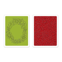 Sizzix Textured Impressions Embossing Folders 2PK - Wreath & Flowers Set 659965