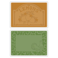 Sizzix Texture Impressions Embossing Folders - Rooster Frame & Lemon Label Set 658970
