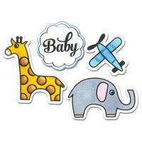 Sizzix Framelits Die Set w/ Matching Rubber Stamp - Baby 660285