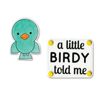 Sizzix Framelits Die Set w/ Matching Rubber Stamp - A Little Birdie Told Me 660397
