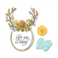 Sizzix Framelits Die Set Matching Rubber Stamp Jen Long - Sweet Deer 661132
