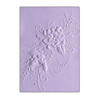 Sizzix 3D Textured Impressions Embossing Folder - Flower Heart Doodle 662455